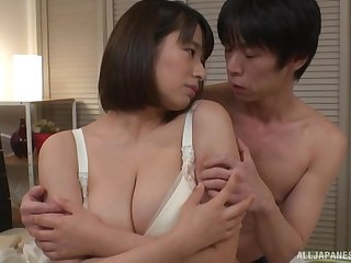 Duo on one action with chubby Haruna Hana loving his dick