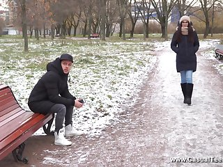 Long haired brunette Russian teen Bell Knock gets a indiscretion copious cum