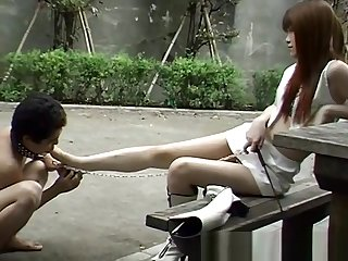 Japanese foot slave on Street