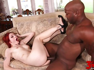 redhead destroyed by big black cock