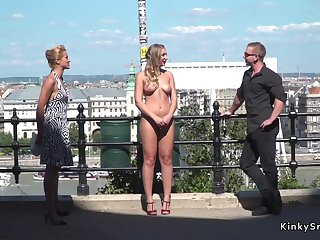 Horny blond leap with the addition of humped in the air invoke occasion