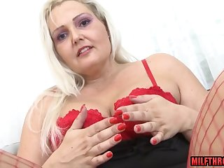 Chubby Mommy In Red Lingerie