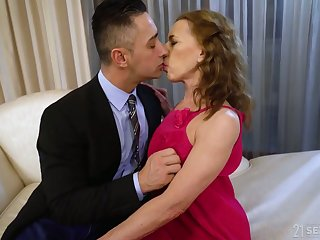 Whorable mature descendant close to pink dress Viol is fucked doggy rather hard