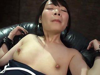 Half-naked Japanese hottie works hard to please her man