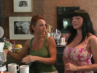 MILF lesbian pornstars Janet Mason together with Karen Kougar in the kitchen