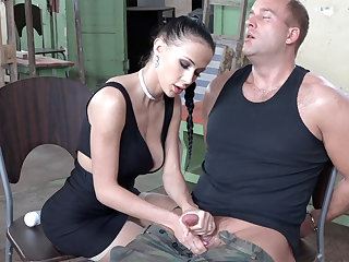 Sexy brunette play with detect be fitting of military