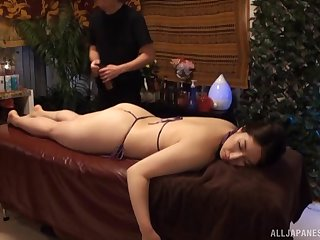 Oiled and horny woman is accessible for rub down and hard sex after lose one's train of thought