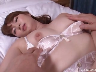 Japanese Yui Nishikawa sucks and gets missionary fucked in lingerie