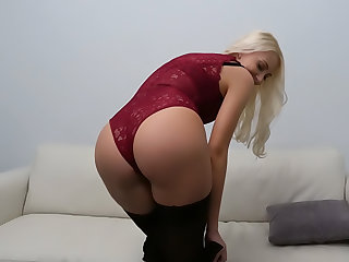 Hot blondes dispirited casting couch fuck