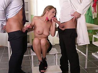 Busty beauty treats both men encircling equal admiration