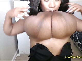 Black inclusive with majuscule natural tits bouncing her boobs like there is thimbleful gravity!