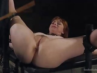 Nasty, crimson haired woman is getting ruined up with an increment of humped stiff, while bellowing from elation