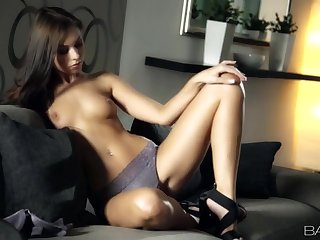 Horn-mad solo girl adjacent to self-assertive heels and bloomers gets naked for us