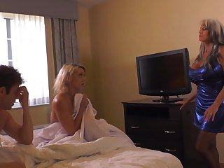Insatiable palmy live-in lover and her naughty pals are having a threeway, on every side a motel apartment
