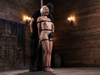 Crazy dude fucks tied up sexy blonde Helena Locke in the dark basement