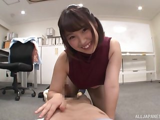 Cute Asian is on her knees in the office hefty the best blowjob ever