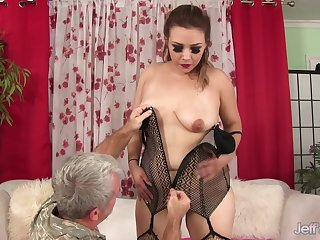 Chubby MILF Aubrey Blu Slides Her Pussy up and surrounding Grandpas Hard Learn of