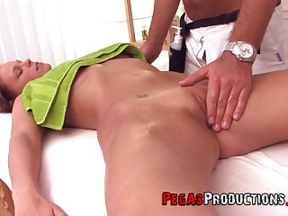 Tea got surprised with a fingering and hard carnal knowledge by her masseur