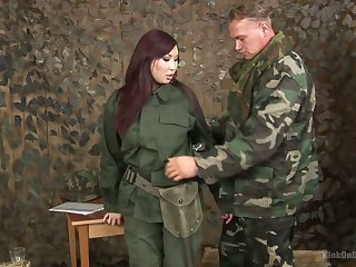 Asian chick in military unvaried Aisha San gives a good blowjob relating to one soldier