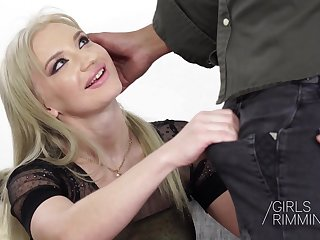 Nasty Blond Angela Vidal giving a rimjob and fornicateed