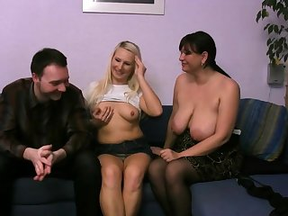 Hot morose with morose nymphette and busty mommy