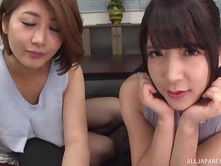 Gaffer Japanese matures quota friend's fat and long penis not susceptible the floor