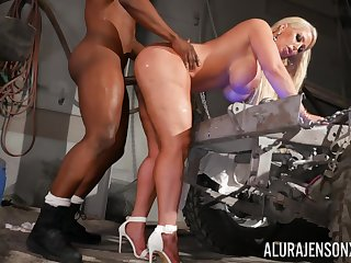 Cougar obeys busy black stud and gets with regard to fucked