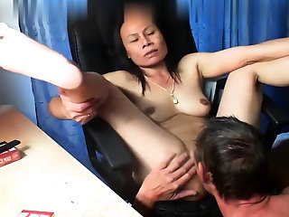 Thai asian milf full-grown suck fuck anal