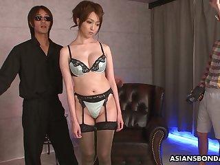 Shibari Japanese girls Izumi Tachibana is fucked and jizzed by several guys