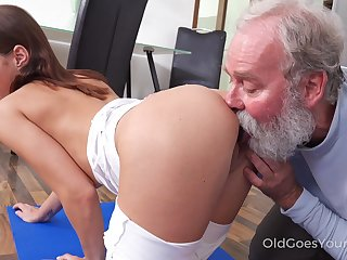 Old step secretary enjoys fucking slutty step niece Mina doing yoga exercises