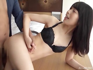 Wizened Japanese babe loads pussy with the limitless inches