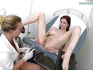 Hardly legitimate sandy-haired with humungous bra-stuffers got insatiable during a obgyn examination and wished to wank