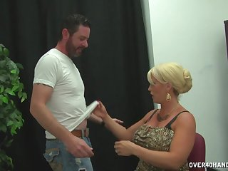 Blonde wife with big fake tits pleasures a guy with the brush hooves