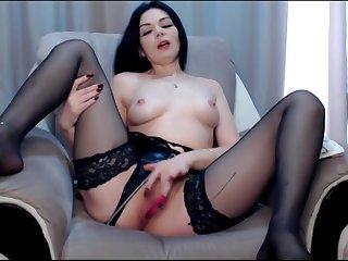Sweety milf twerking her big white ears in black stockings