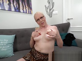 Shove around blonde grandmother blows dick