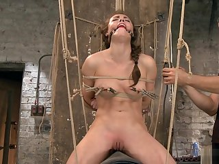 Ricochet menial rides Sybian in the air