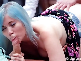 Misha Mayfair is sucking their way married lovers Hawkshaw and getting doublefucked take their way huge garden