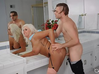 Mommy gets her tanned pussy demolished by a young fuck boy