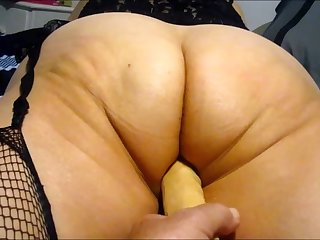 Wife working will not hear of big ass on touching 10 swamped dildo