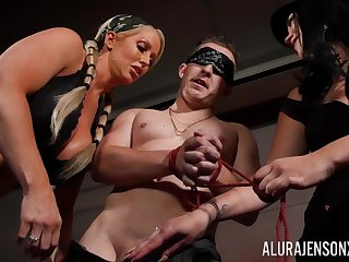 Man submits to hot Dommes Alura Jenson with an increment of Megan Maiden
