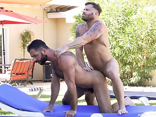 Gay bareback porn by the come together with a pair of stallions
