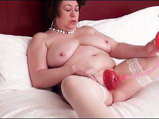 Putrid mature Trisha tries out a new toy on her tight pussy